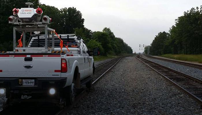 Mobile LiDAR Truck on Railroad Track